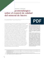 74345111 Enfoque Geometalurgico Sobre El Control de Calidad Del Mineral de Hierro