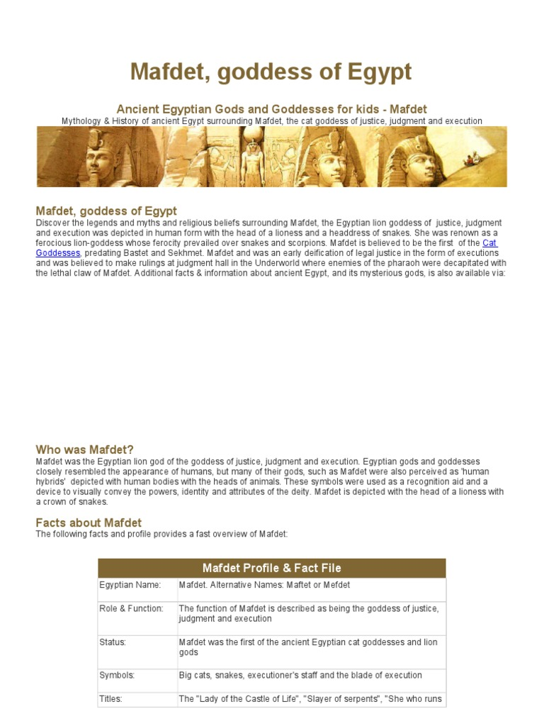 Ancient Egyptian Gods And Goddesses For Kids Mafdet Ancient