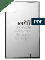 Farah Khelil Du Mode d Existence Des Objets Techiniques