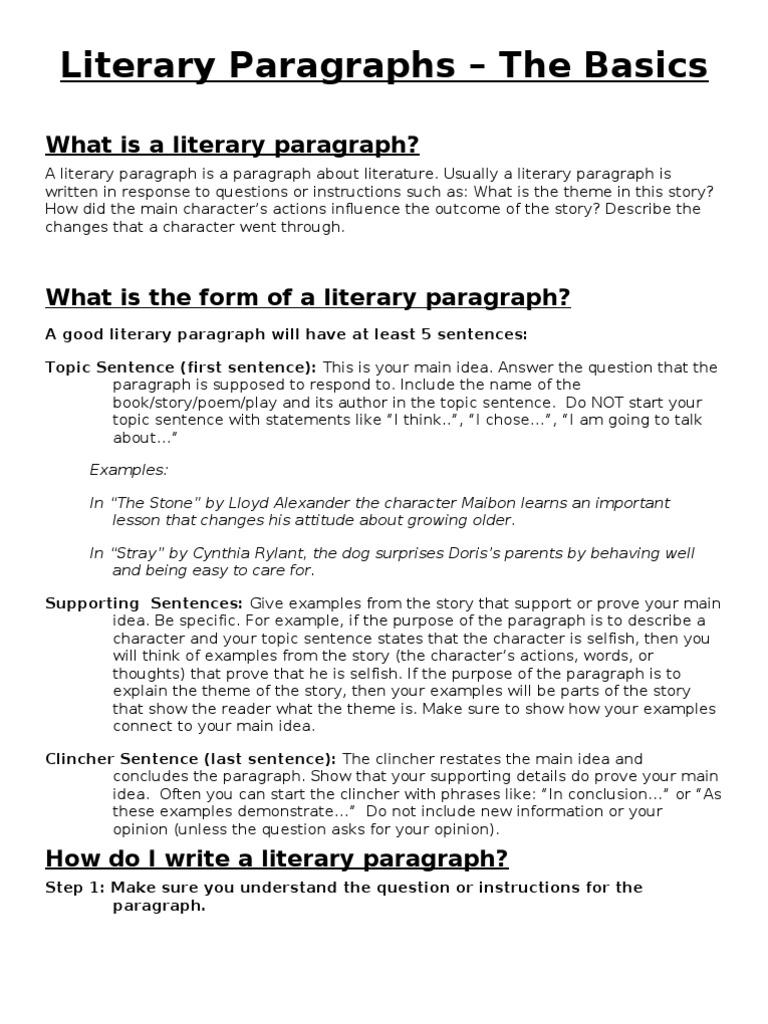 literary paragraph guidelines paragraph sentence linguistics. Black Bedroom Furniture Sets. Home Design Ideas