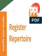 MyPPL User Guide - Register Repertoire GEM
