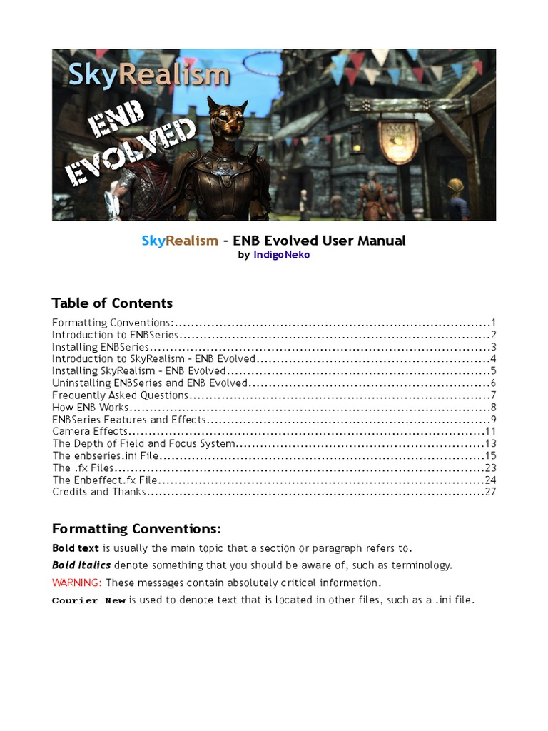 ENB Evolved User Manual | Camera Lens | Camera