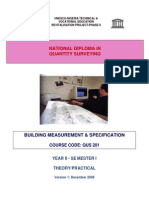 QUS 201 -Building Measurement & Specification (Theory-Practical)