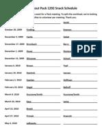 Snack Schedule 10-26-09