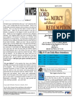 St. Augustine Roman Catholic Church Sunday Bulletin, April 6, 2014