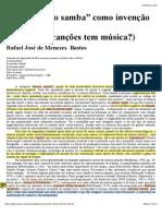 """A """"origem do samba"""" como invenção do Brasil"""