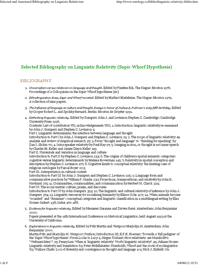 Linguistic Relativity Bibliography Linguistics Relativism