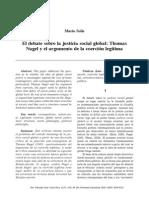 Mario Solís- El debate sobre la justicia social global Thomas Nagel y el argumento de la coerción legítima