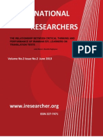 The Relationship Between Critical Thinking and Performance of Iraninan Efl Learners on Translation Test