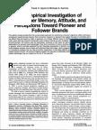 An Empirical Investigation of Consumer Memory, Attitude, And Perceptions Toward Pioneer and Follower Brands (Alpert Kamins)