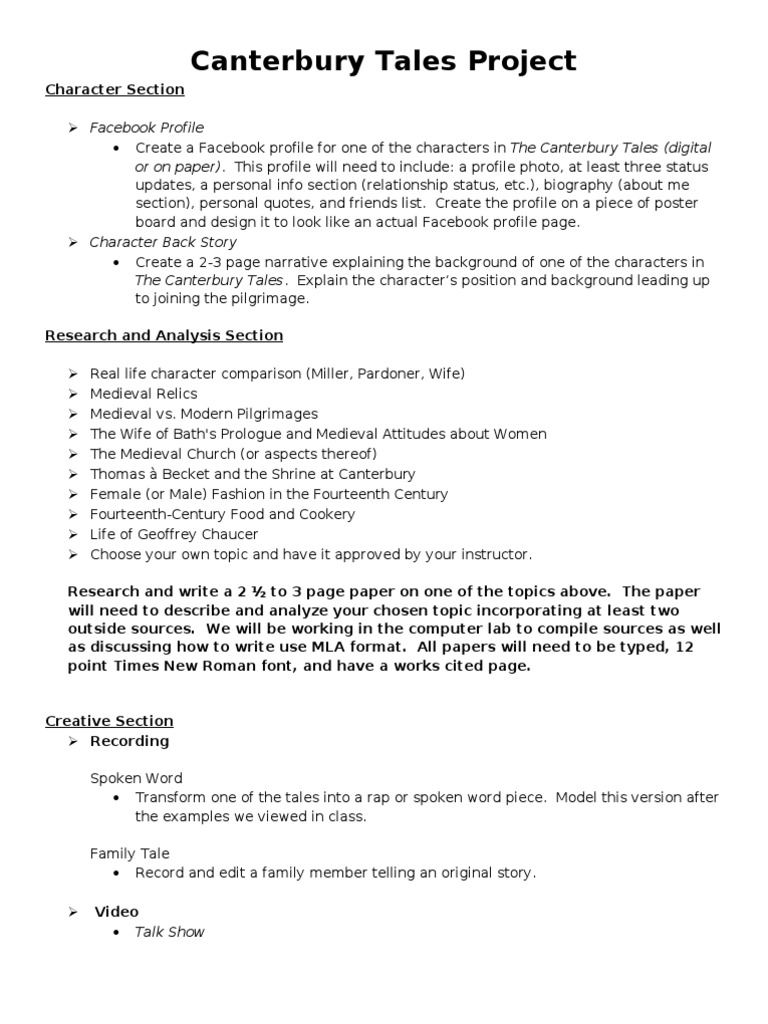 canterbury tales ap essay questions Titles from open response questions works referred to on the ap literature exams since 1971 the canterbury tales by geoffrey chaucer.