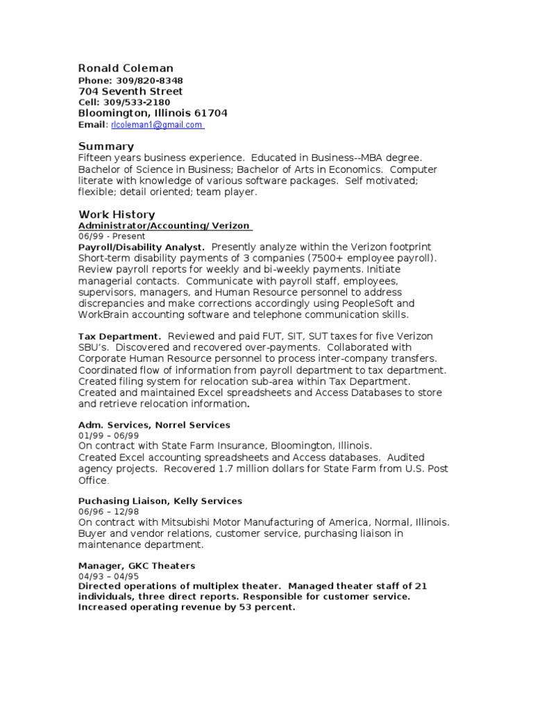 Ron Coleman S Resume Payroll Employment
