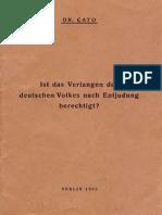 Cato, Dr. - Ist das Verlangen des deutschen Volkes nach Entjudung berechtigt (1933, Text)