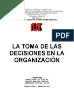 TRABAJO FINAL DE LA TOMA DE LAS DECISIONES EN LA ORGANIZACIÓN