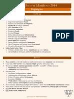 BJP Manifesto 2014 Quick Read 10 Pager