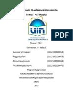 Laporan (Titrasi-netralisasi) Hasil Praktikum Kimia Analisa