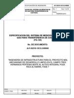 Especificaciones de Unidad de Medicion de Flujo