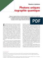 Photons uniques et cryptographie quantique