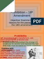 Prohibition – 18 Amendment
