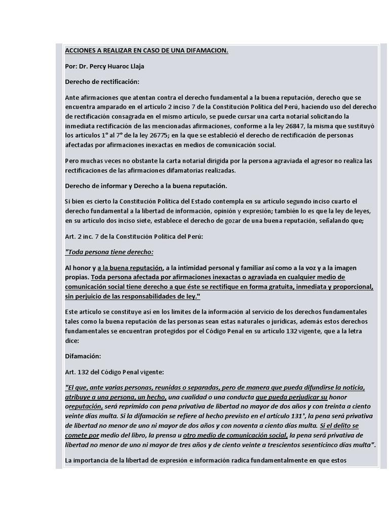 Acciones a realizar en caso de una difamacion for Formulario desistimiento