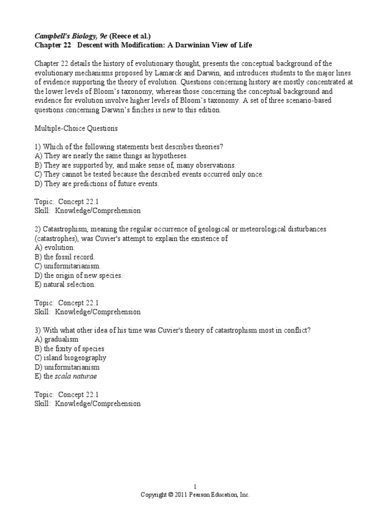 chapter 22 student homology biology evolution rh scribd com modern biology study guide answer key 15-1 modern biology study guide answer key 16-1