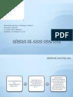 Génesis de Juicio Oral civil