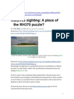 MH370 spotted over Maldives Island. Why is no one investigating this lead??