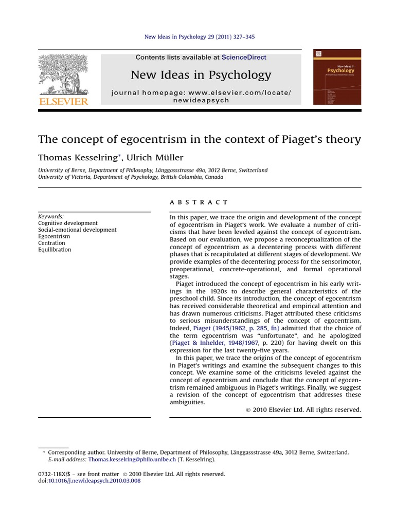 The Concept Of Egocentrism In The Context Of Piagets Theory