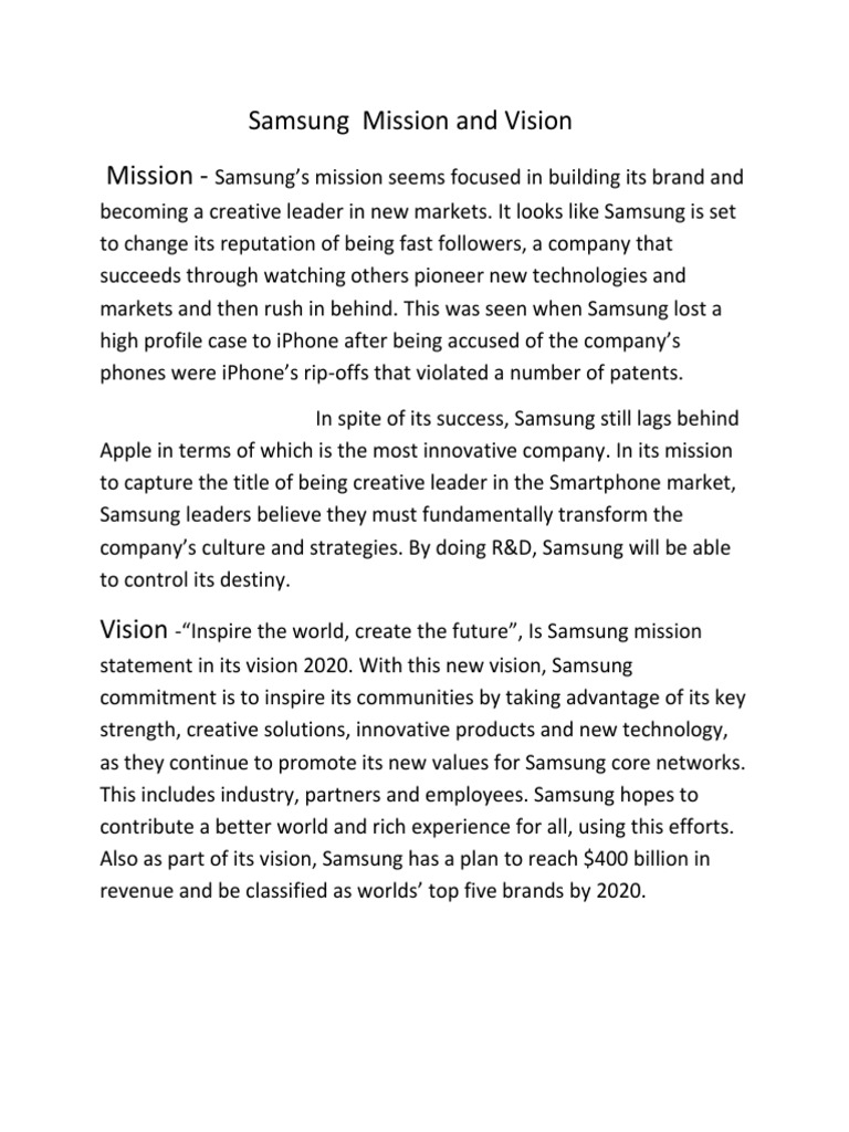 samsung smartphone mission and vision Samsung display creates displays that go beyond your imagination.