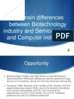 differences beetween biotechnology, semiconductor and computer industries