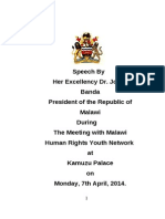 JB Speech during Meeting with Malawi Human Rights Youth Network