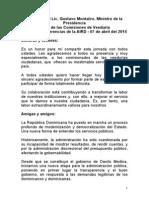 Discurso del Ministro Gustavo Montalvo-Taller de las Comisiones de Veedurías