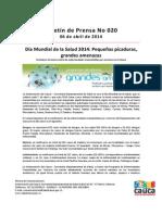 Boletín 020_ Día Mundial de la Salud 2014_ Pequeñas picaduras, grandes amenazas