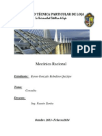 UNIVERSIDAD TÉCNICA PARTICULAR DE LOJA tarea de mecanika racional