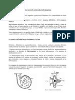 Primera clasificación de las turbo máquinas