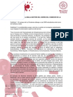 NP CARUH critica gestión del comedor de La Rábida