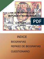 DE LA REFORMA A LA REPÚBLICA RESTAURADA modificado