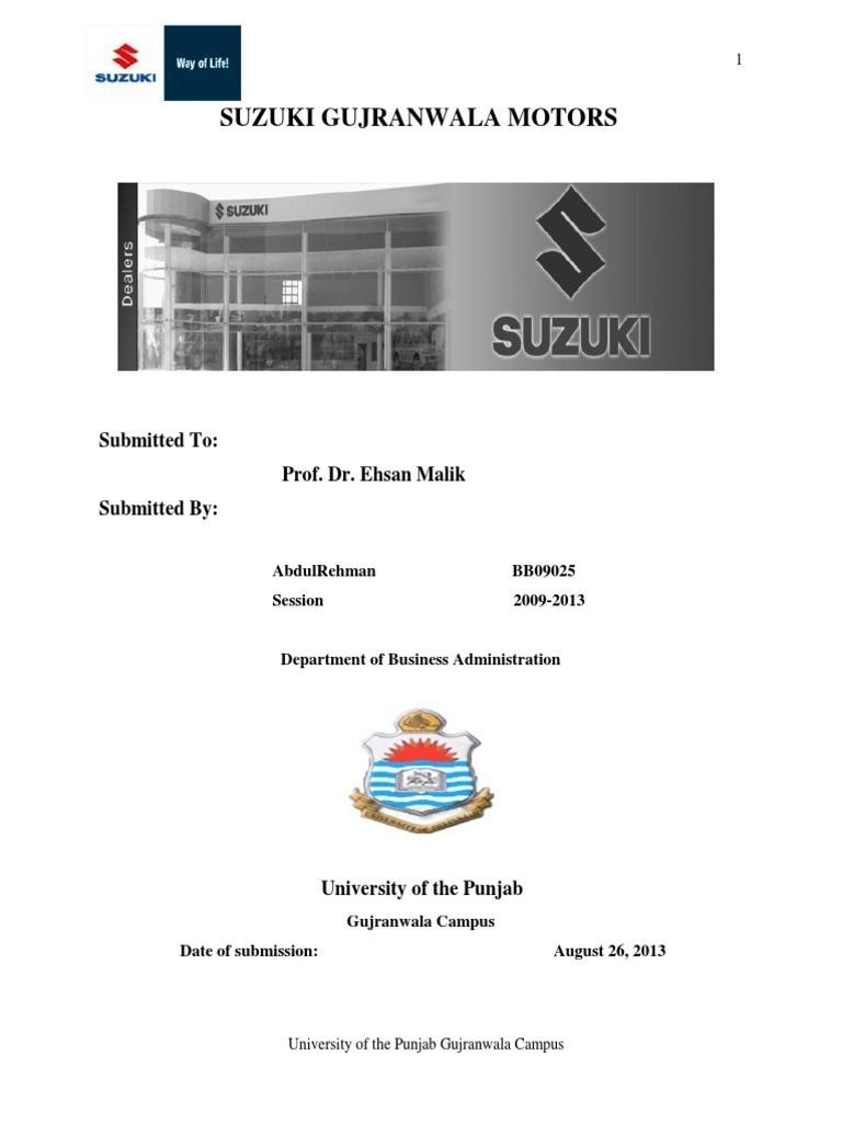 Internship Report on Suzuki Gujranwala motors | Transmission