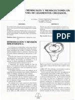ALTERACIONES MENISCALES Y MENISCECTOMÍA EN CASOS DE ROTURA DE LIGAMENTOS CRUZADOS