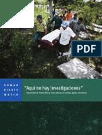 Aguan Honduras , Informe de Human Right Wacht