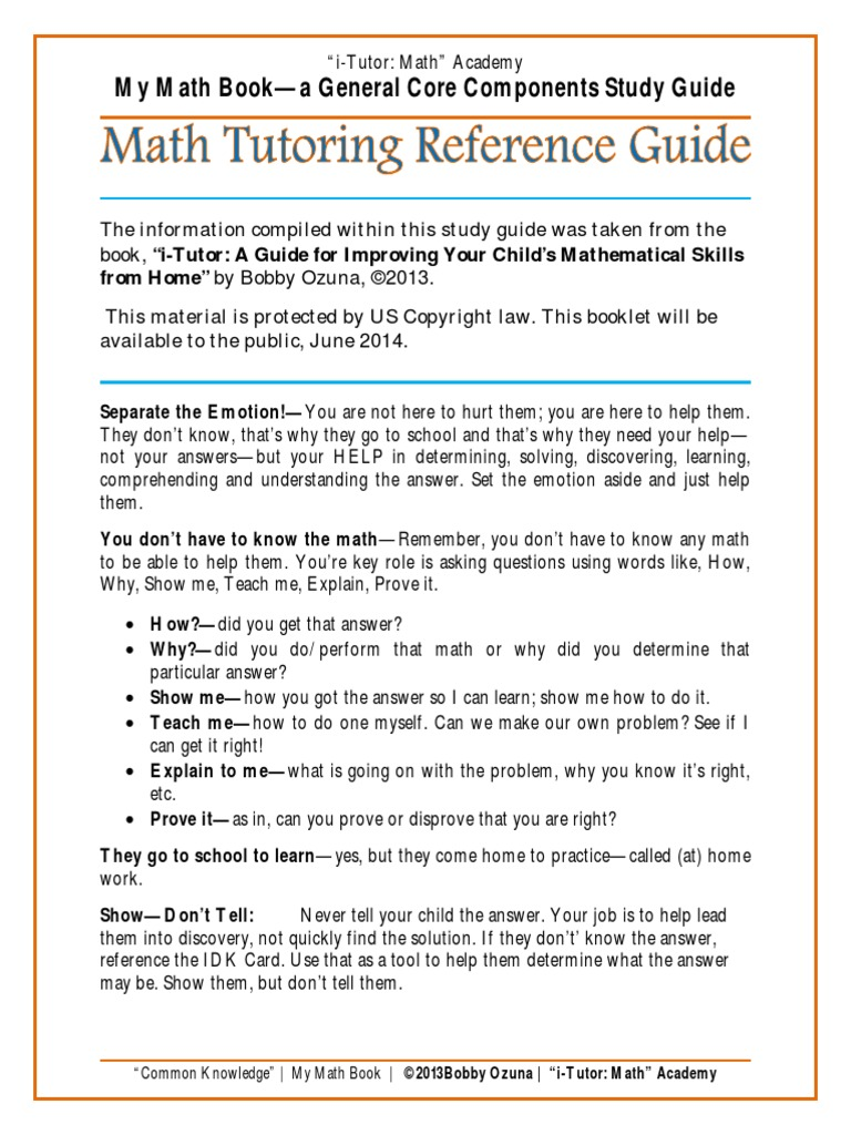 The ITMA Math Tutoring Reference Guide | Multiplication | Physics &  Mathematics