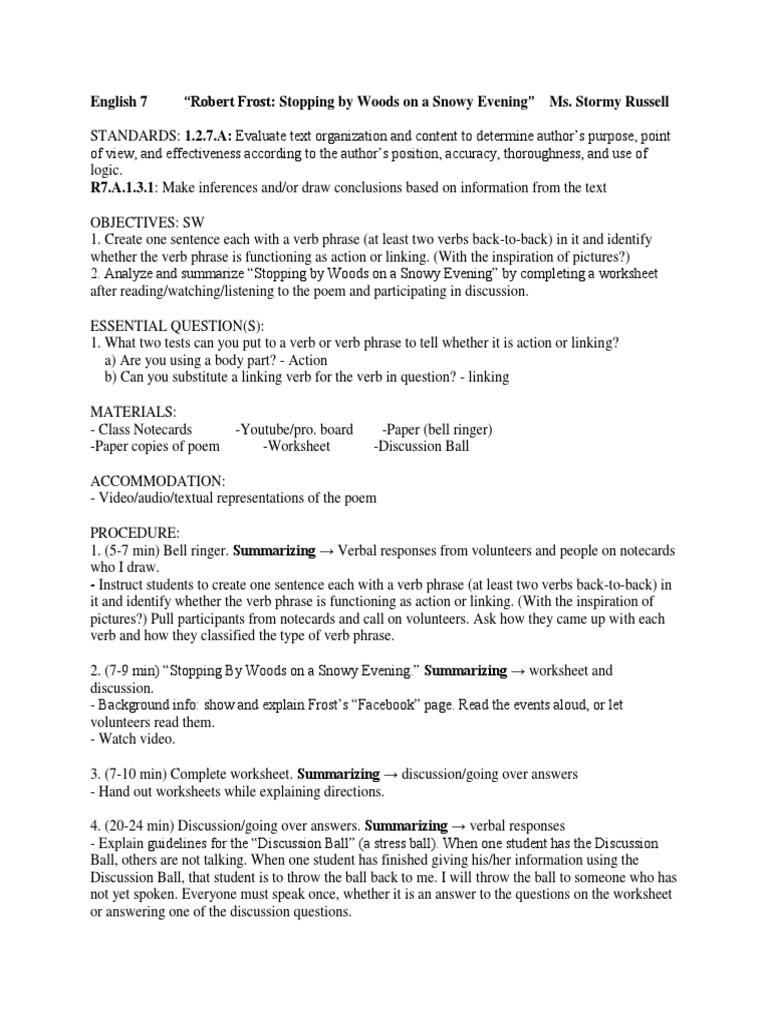 worksheet Summarizing Worksheet english 7 robert frost stopping by woods on a snowy evening phrase verb
