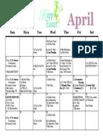 Calendar, April 2014