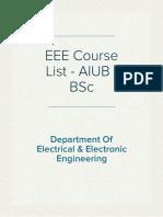 AIUB-B.Sc. EEE Course List