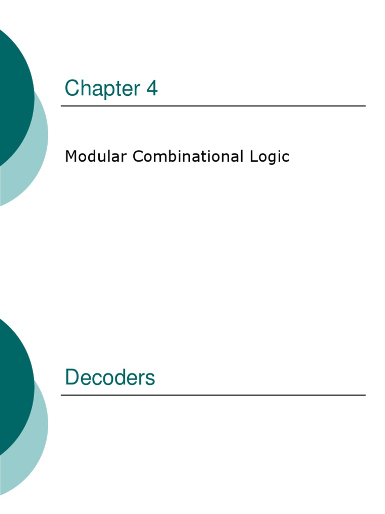 04 Chapter 4 Modular Comb Logic 2 Electrical Circuits Digital Diagram 2x4 Decoder Electronics
