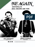 65579568 Gilbert o Sullivan Guy Marchand Alone Again Naturally Me Voila Seul Encore Une Fois 1972 Sheet Music