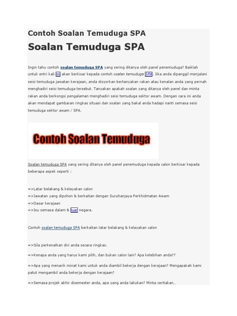 Contoh Soalan Temuduga Spa