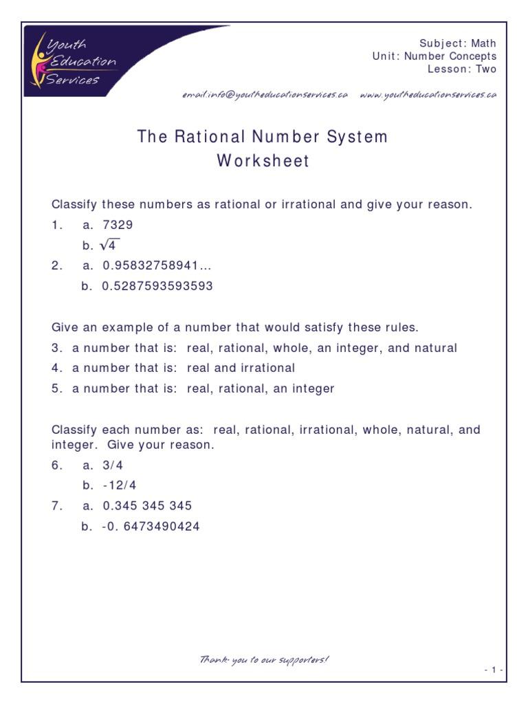 Worksheet Rational And Irrational Numbers Worksheet Worksheet Fun