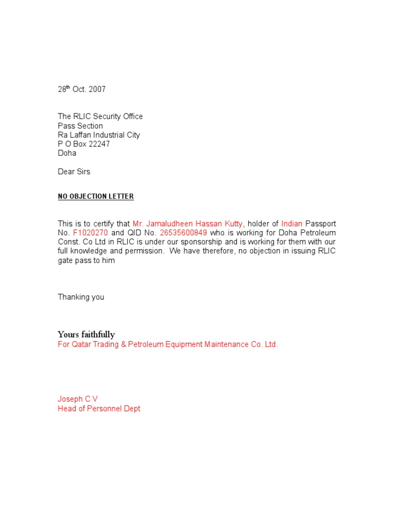 No Objection Certificate Sample Letter