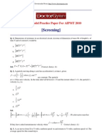 Physics Model Practice Paper for AIPMT 2010 Screening]